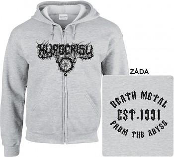 Hypocrisy - mikina s kapucí a zipem šedá