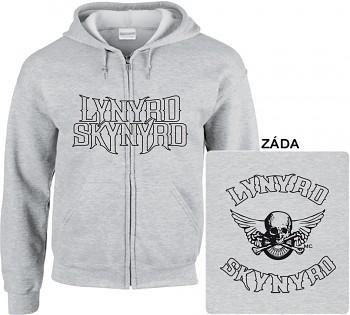 Lynyrd Skynyrd - mikina s kapucí a zipem šedá