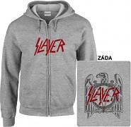 Slayer - mikina s kapucí a zipem šedá
