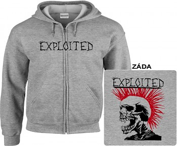 Exploited - mikina s kapucí a zipem šedá